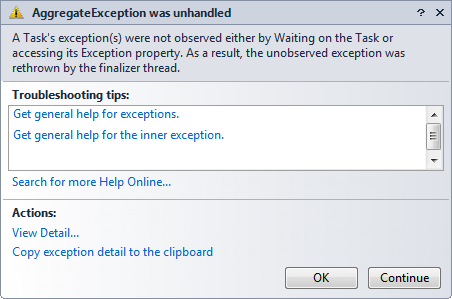 AggregateException was unhandled