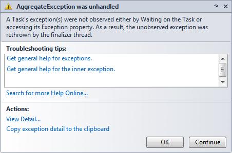 AggregateException was unhandled