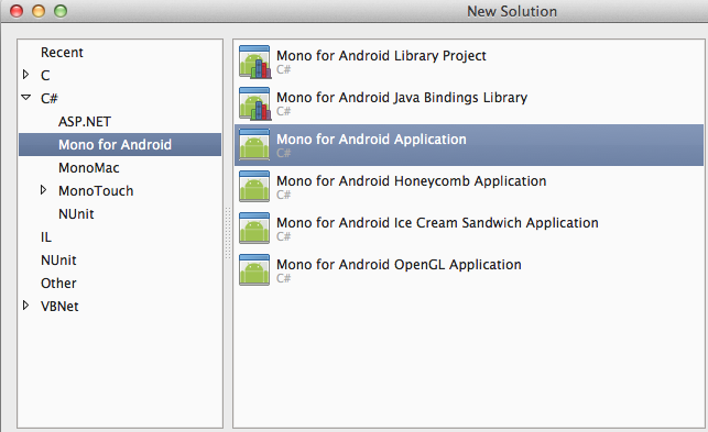 Create first Mono for Android Application