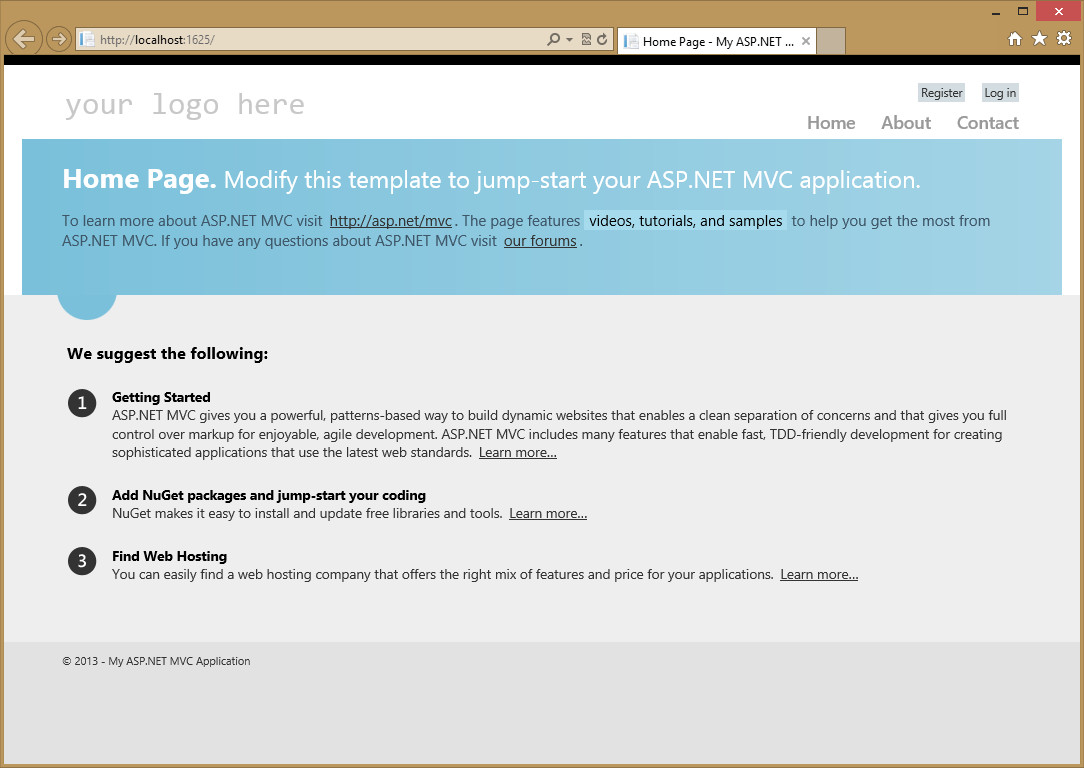 First look of default mvc4 app