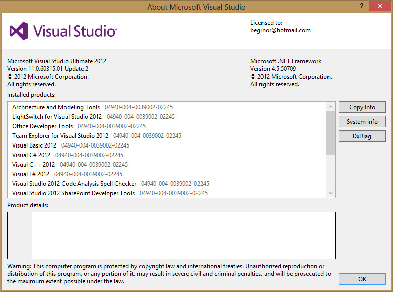 Visual studio & .Net information